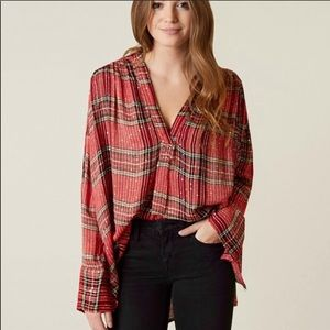 New! Free people fearless love plaid sequin top